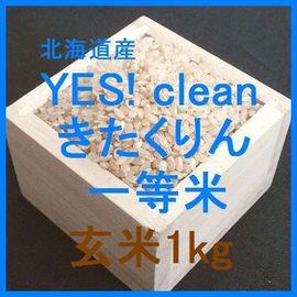 北海道産 YES! clean きたくりん検査1等玄米1kgです。ふっくりんこを親に持つ農薬使用量を抑えたお米です。