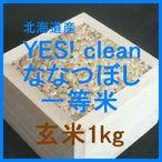北海道産 YES! clean ななつぼし 検査1等玄米1kgです。YES! clean ななつぼしは、その名の通り農薬の少ないクリーンなお米です。